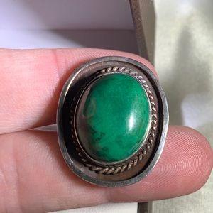 sterling Jewelry - Vintage sterling silver African jade ring